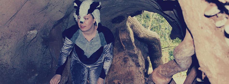 jasmine dressed as a badger